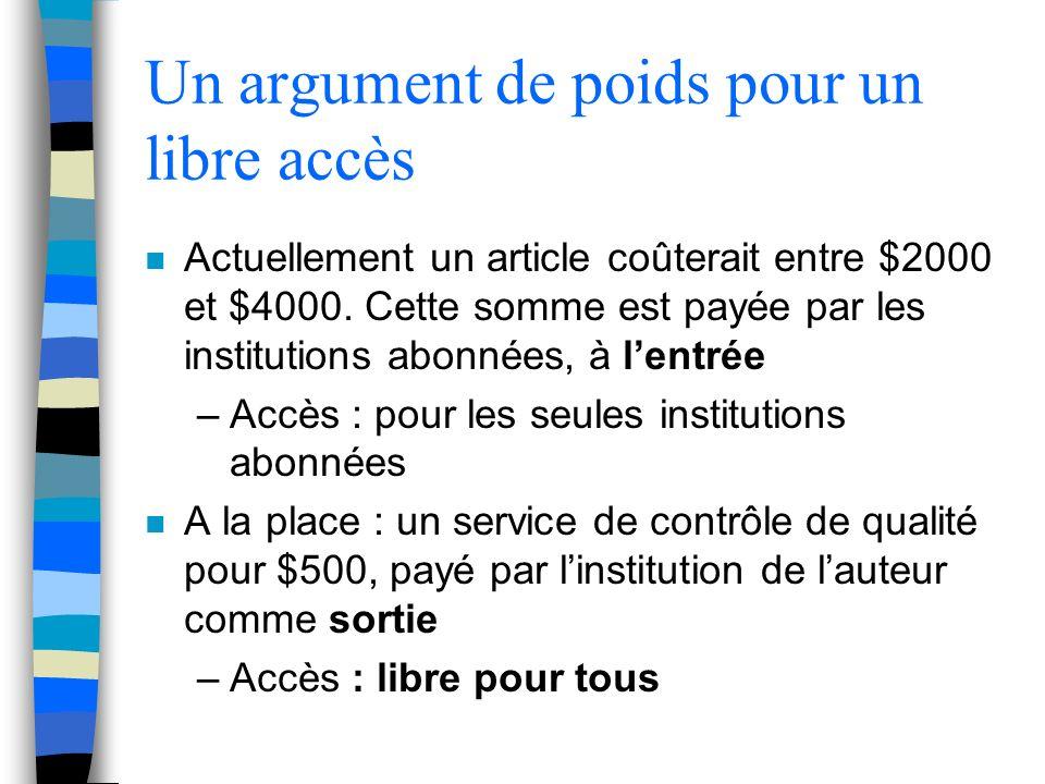 Un argument de poids pour un libre accès n Actuellement un article coûterait entre $2000 et $4000.