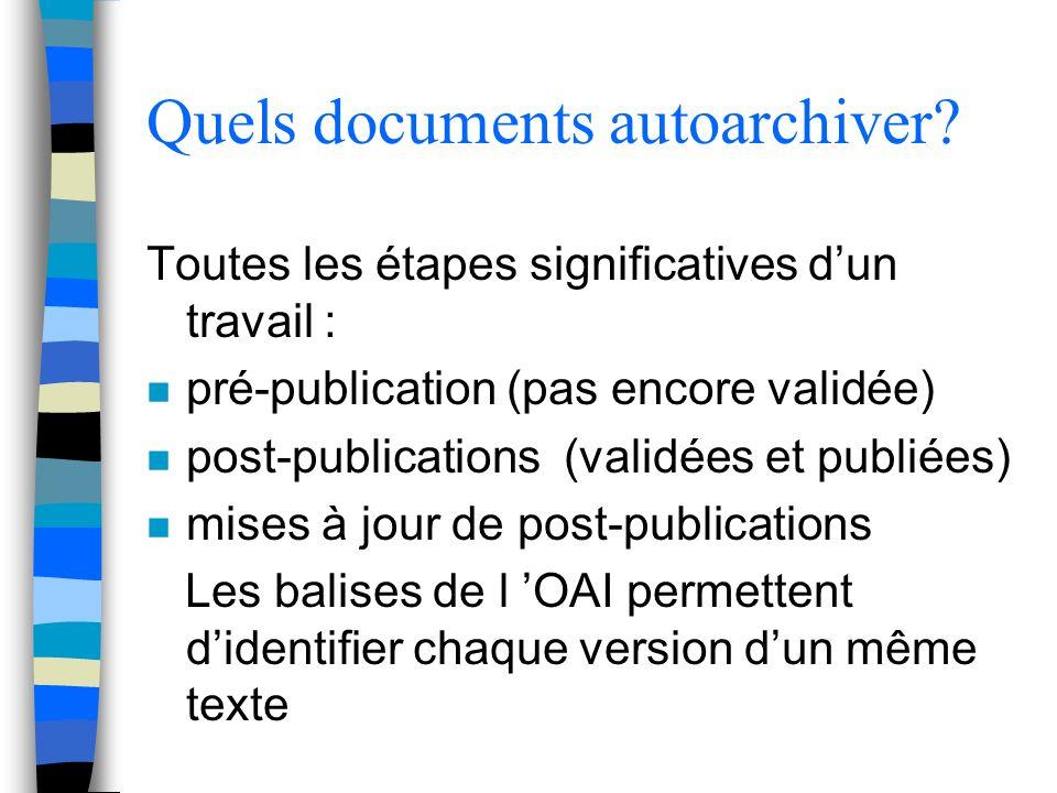 Quels documents autoarchiver? Toutes les étapes significatives dun travail : n pré-publication (pas encore validée) n post-publications (validées et p