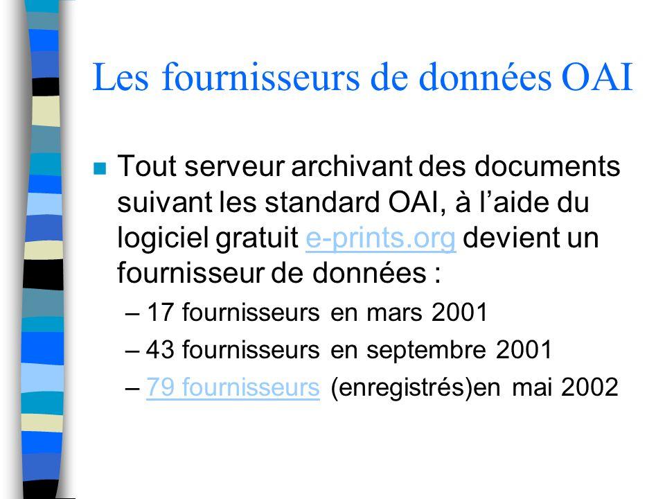 Les fournisseurs de données OAI n Tout serveur archivant des documents suivant les standard OAI, à laide du logiciel gratuit e-prints.org devient un fournisseur de données :e-prints.org –17 fournisseurs en mars 2001 –43 fournisseurs en septembre 2001 –79 fournisseurs (enregistrés)en mai 200279 fournisseurs