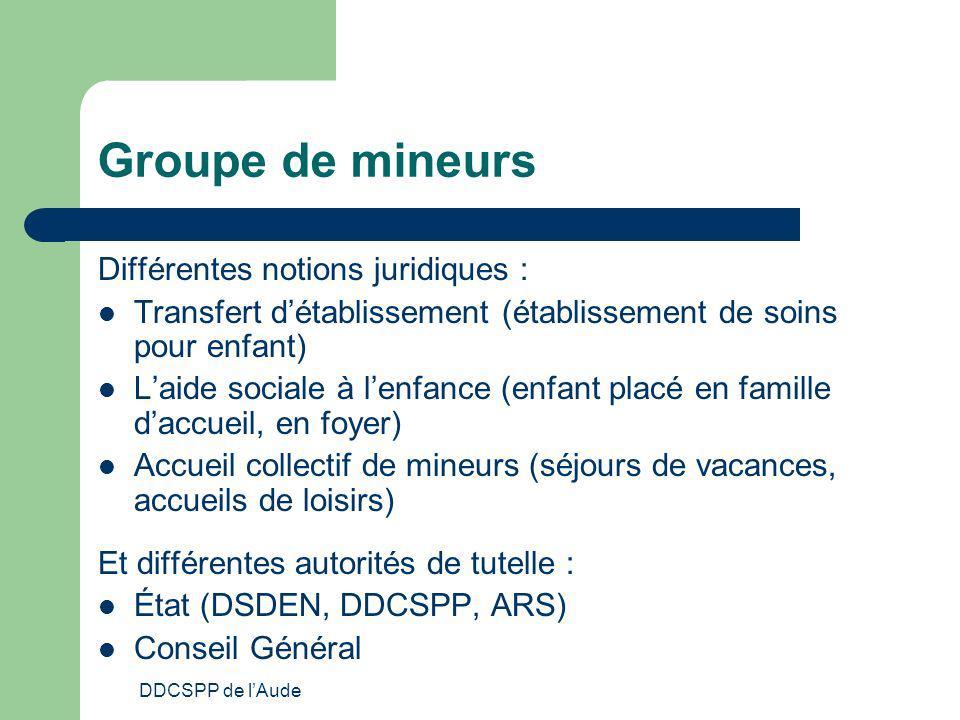 DDCSPP de lAude Groupe de mineurs Différentes notions juridiques : Transfert détablissement (établissement de soins pour enfant) Laide sociale à lenfa