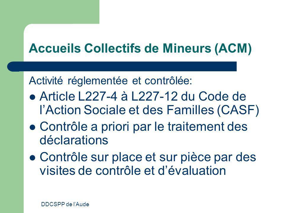 DDCSPP de lAude Accueils Collectifs de Mineurs (ACM) Activité réglementée et contrôlée: Article L227-4 à L227-12 du Code de lAction Sociale et des Fam
