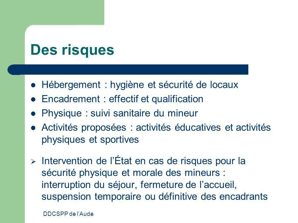DDCSPP de lAude Des risques Hébergement : hygiène et sécurité de locaux Encadrement : effectif et qualification Physique : suivi sanitaire du mineur A