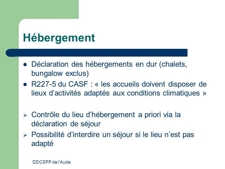 DDCSPP de lAude Hébergement Déclaration des hébergements en dur (chalets, bungalow exclus) R227-5 du CASF : « les accueils doivent disposer de lieux d