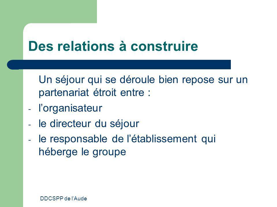 DDCSPP de lAude Des relations à construire Un séjour qui se déroule bien repose sur un partenariat étroit entre : - lorganisateur - le directeur du sé