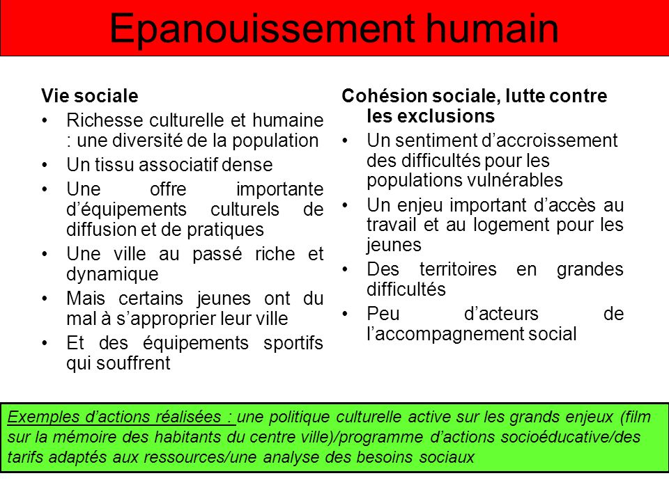 Epanouissement humain Vie sociale Richesse culturelle et humaine : une diversité de la population Un tissu associatif dense Une offre importante déqui
