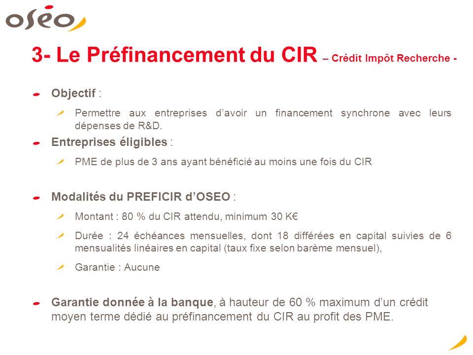 Objectif : Permettre aux entreprises davoir un financement synchrone avec leurs dépenses de R&D.