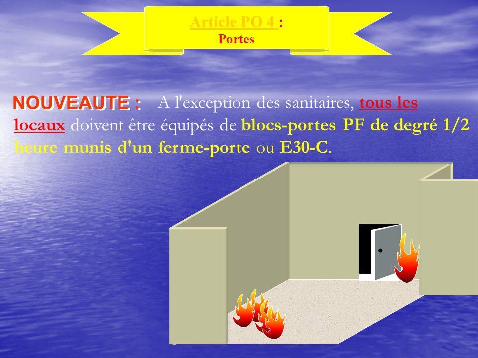 Article PO 4 Article PO 4 : Portes NOUVEAUTE : A l'exception des sanitaires, tous les locaux doivent être équipés de blocs-portes PF de degré 1/2 heur