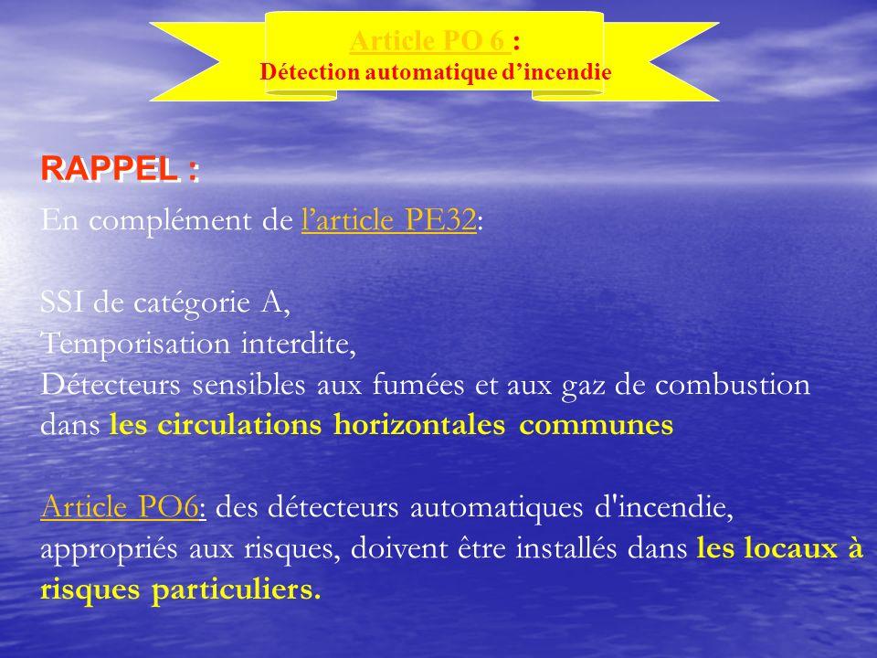 En complément de larticle PE32:larticle PE32 SSI de catégorie A, Temporisation interdite, Détecteurs sensibles aux fumées et aux gaz de combustion dan