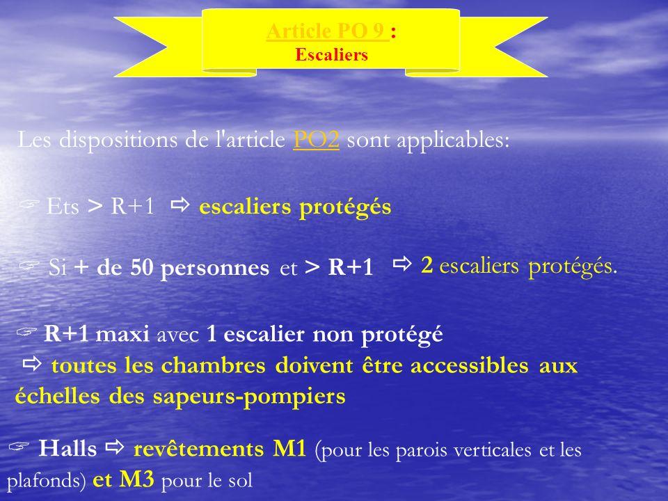 Les dispositions de l'article PO2 sont applicables:PO2 Article PO 9 Article PO 9 : Escaliers Ets > R+1 escaliers protégés Si + de 50 personnes et > R+