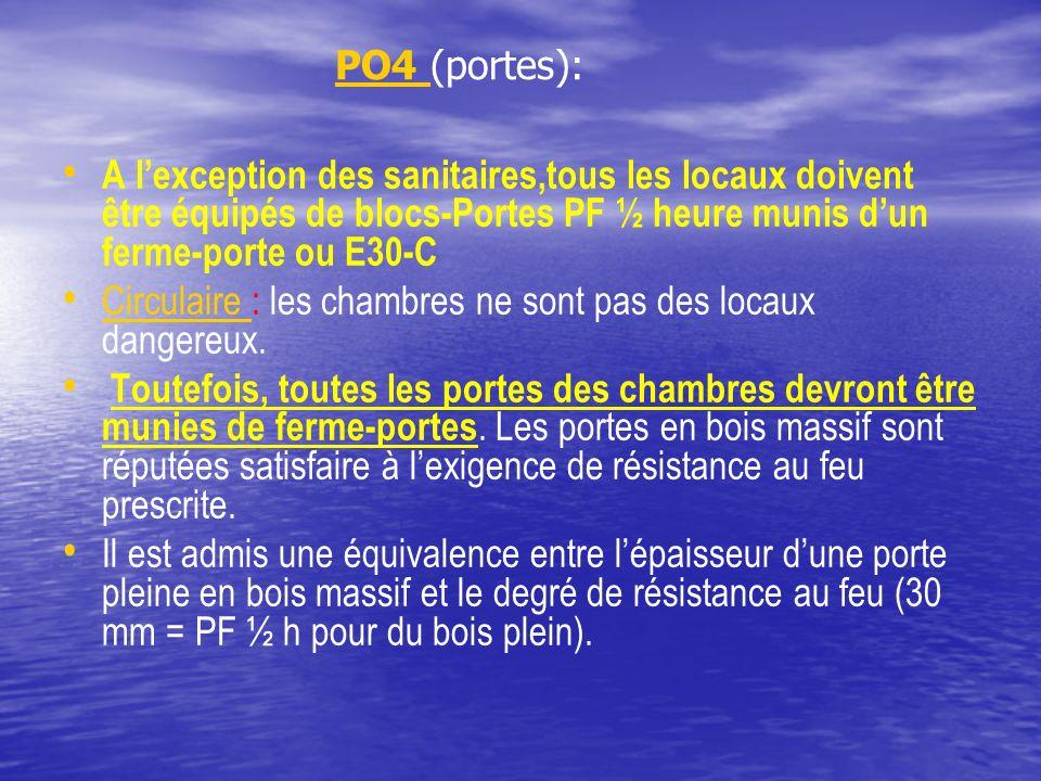 PO4 (portes): PO4 A lexception des sanitaires,tous les locaux doivent être équipés de blocs-Portes PF ½ heure munis dun ferme-porte ou E30-C Circulair