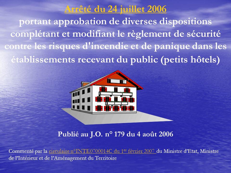 Arrêté du 24 juillet 2006 portant approbation de diverses dispositions complétant et modifiant le règlement de sécurité contre les risques d'incendie