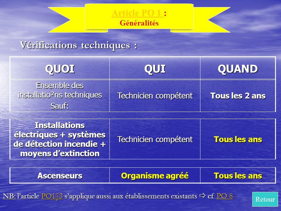 QUOIQUIQUAND Ensemble des installatio²ns techniques Sauf: Technicien compétent Tous les 2 ans Vérifications techniques : Article PO 1 Article PO 1 : G