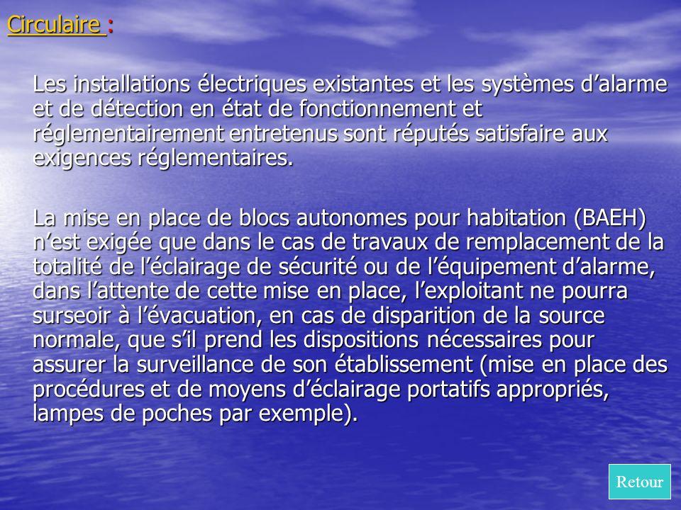 Circulaire : Circulaire Les installations électriques existantes et les systèmes dalarme et de détection en état de fonctionnement et réglementairemen