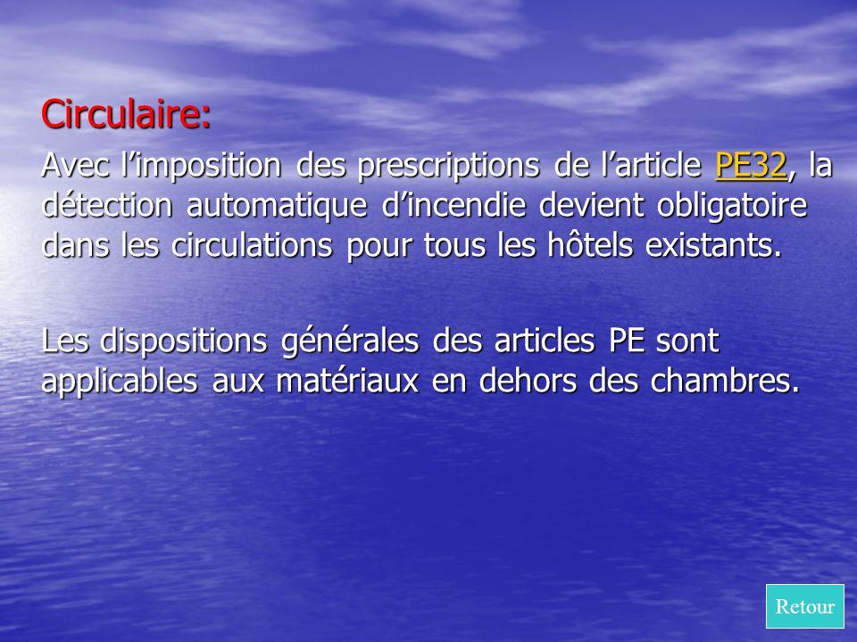 Circulaire: Avec limposition des prescriptions de larticle PE32, la détection automatique dincendie devient obligatoire dans les circulations pour tou