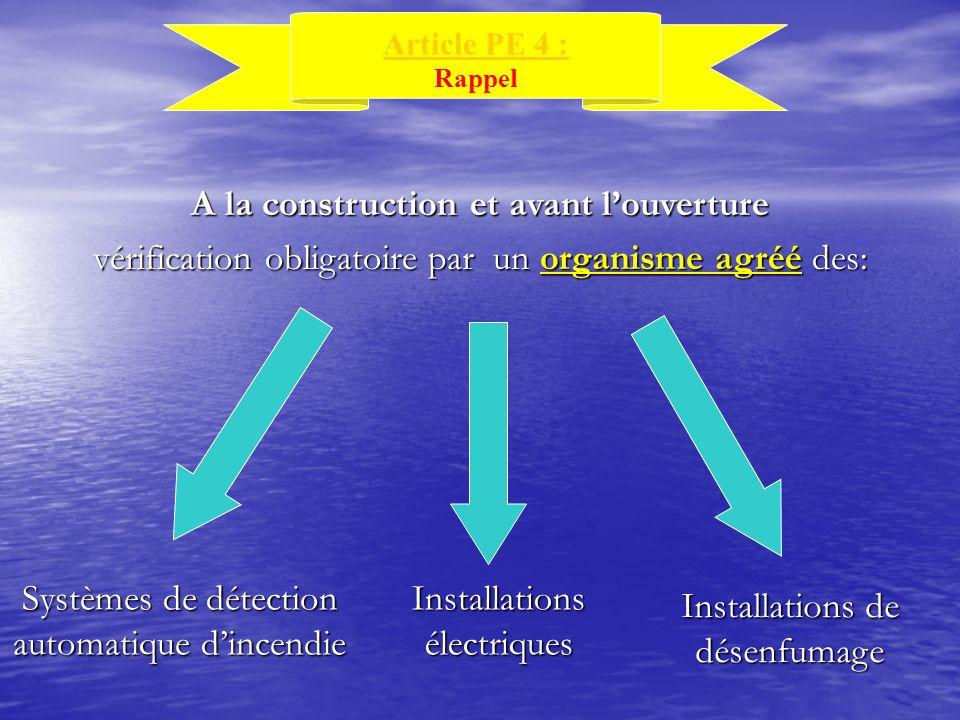 A la construction et avant louverture vérification obligatoire par un organisme agréé des: Installations de désenfumage Installations électriques Syst