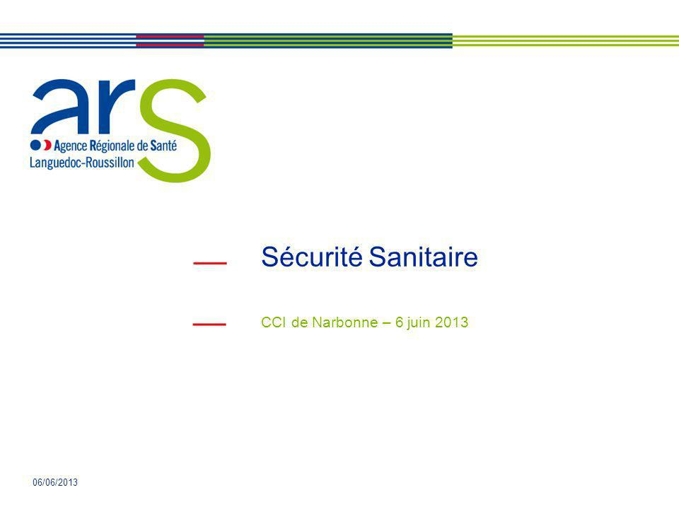 © arS LR 2013 Plan de lintervention 1 - Alimentation en eau potable 2 - Assainissement 3 – Déchets 4 - Amiante 5 - Hygiène générale 6 - Piscines 7 - Légionelles