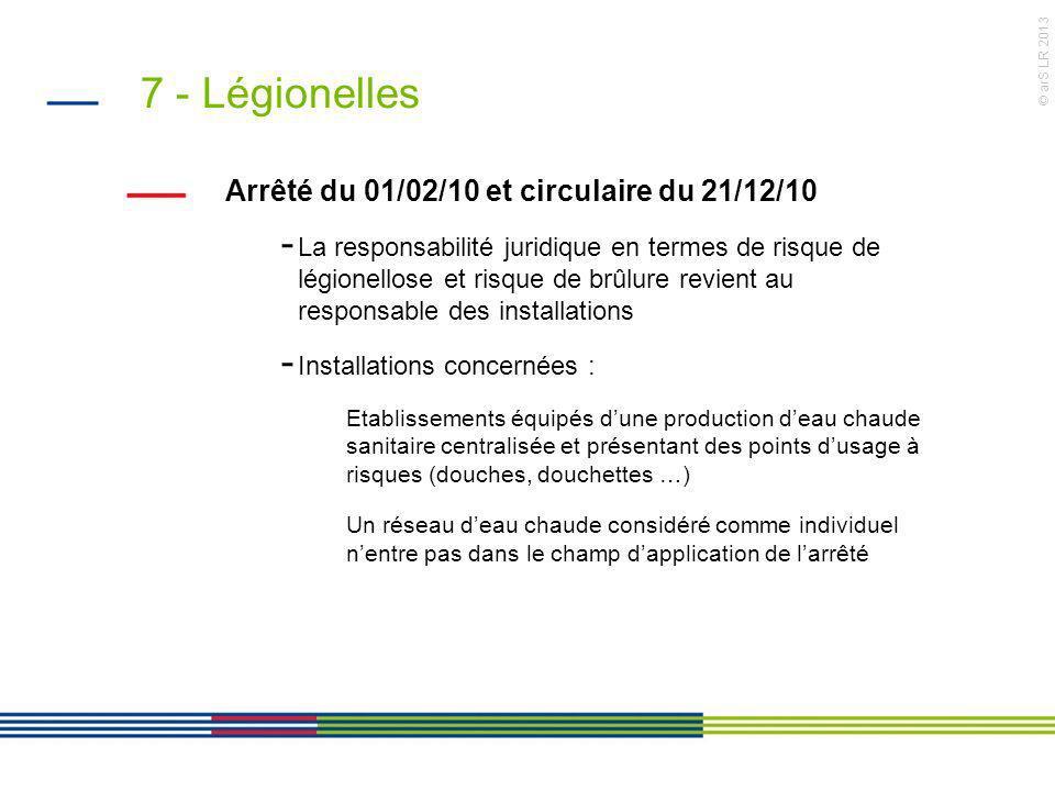 © arS LR 2013 7 - Légionelles Arrêté du 01/02/10 et circulaire du 21/12/10 - La responsabilité juridique en termes de risque de légionellose et risque