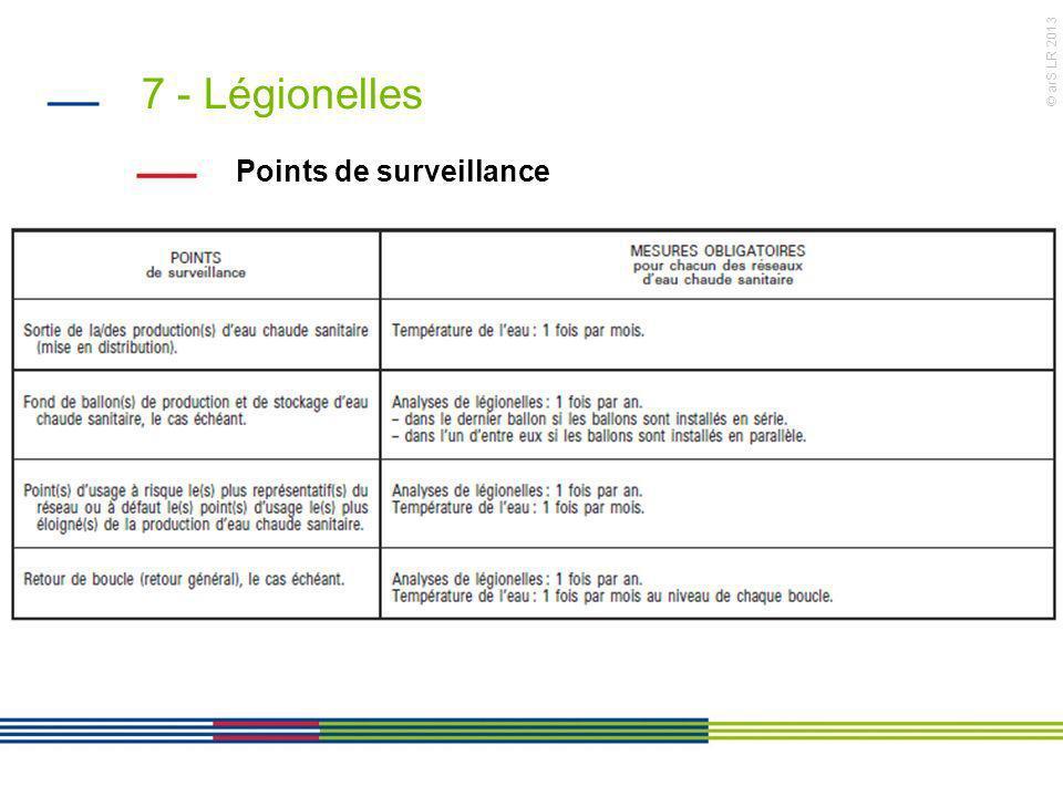 © arS LR 2013 7 - Légionelles Points de surveillance