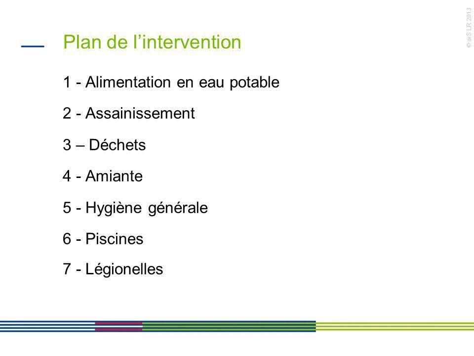 © arS LR 2013 Plan de lintervention 1 - Alimentation en eau potable 2 - Assainissement 3 – Déchets 4 - Amiante 5 - Hygiène générale 6 - Piscines 7 - L