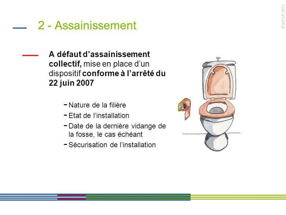 © arS LR 2013 2 - Assainissement A défaut dassainissement collectif, mise en place dun dispositif conforme à larrêté du 22 juin 2007 - Nature de la fi