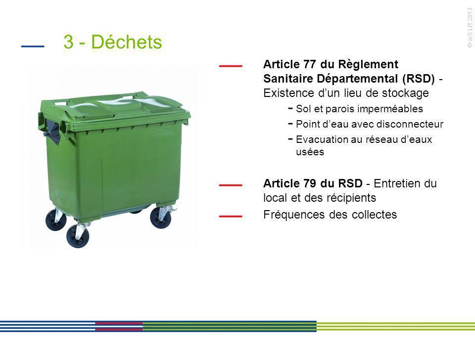 © arS LR 2013 3 - Déchets Article 77 du Règlement Sanitaire Départemental (RSD) - Existence dun lieu de stockage - Sol et parois imperméables - Point