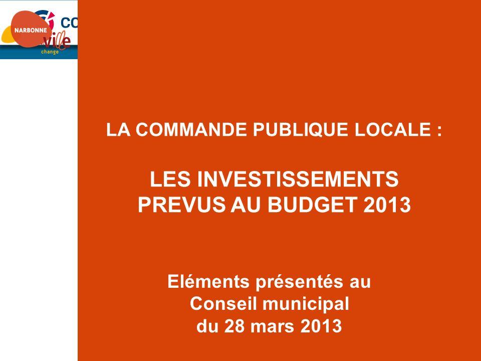 LA COMMANDE PUBLIQUE LOCALE : LES INVESTISSEMENTS PREVUS AU BUDGET 2013 Eléments présentés au Conseil municipal du 28 mars 2013