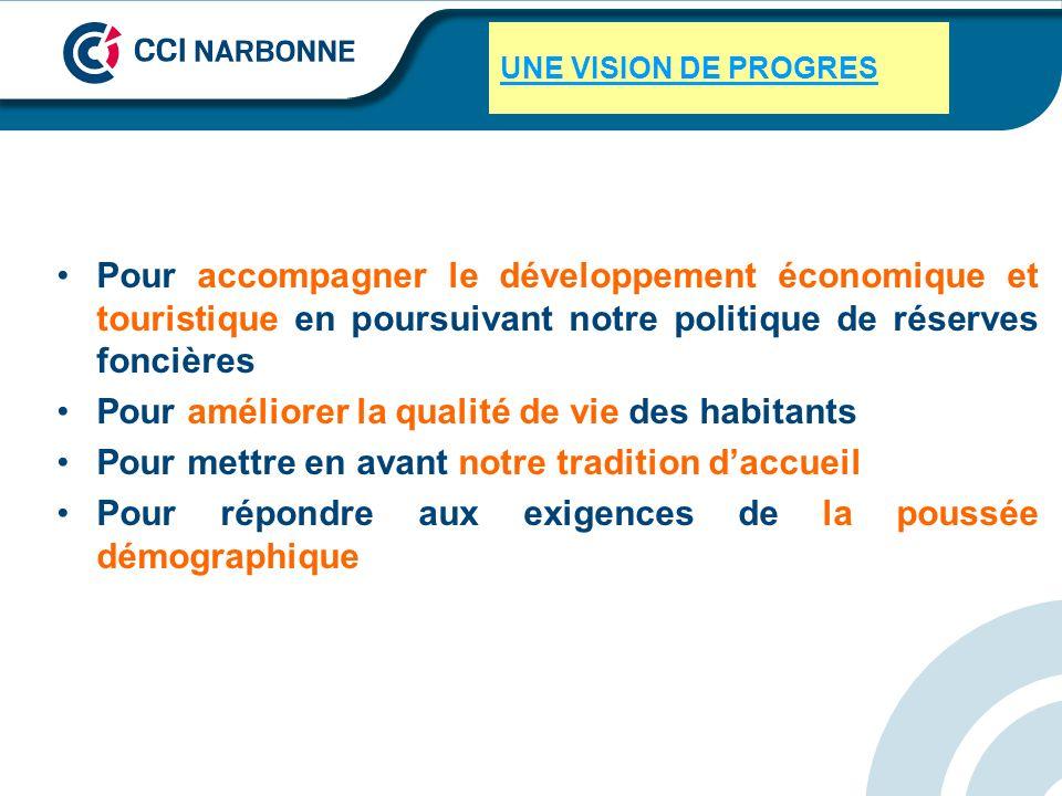 UNE VISION DE PROGRES Pour accompagner le développement économique et touristique en poursuivant notre politique de réserves foncières Pour améliorer
