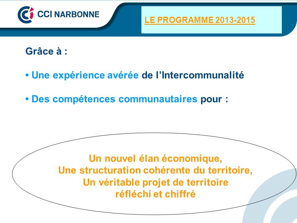 LE PROGRAMME 2013-2015 Grâce à : Une expérience avérée de lIntercommunalité Des compétences communautaires pour : Un nouvel élan économique, Une struc