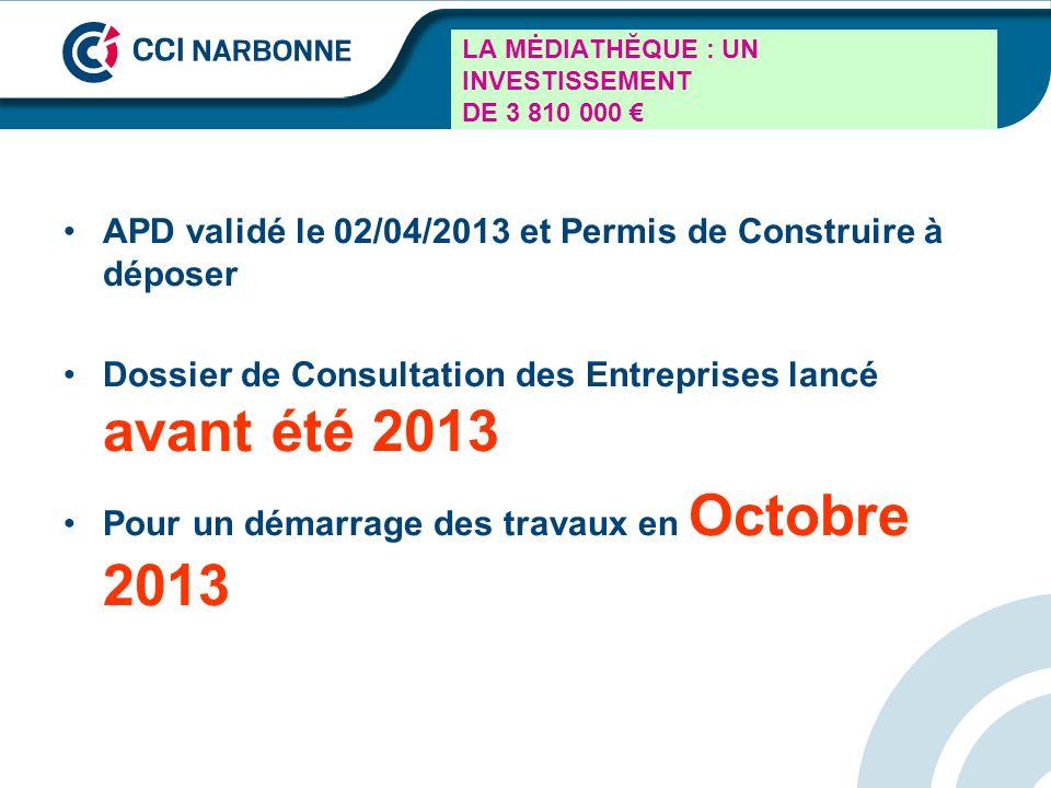 LA MĖDIATHĔQUE : UN INVESTISSEMENT DE 3 810 000 APD validé le 02/04/2013 et Permis de Construire à déposer Dossier de Consultation des Entreprises lan