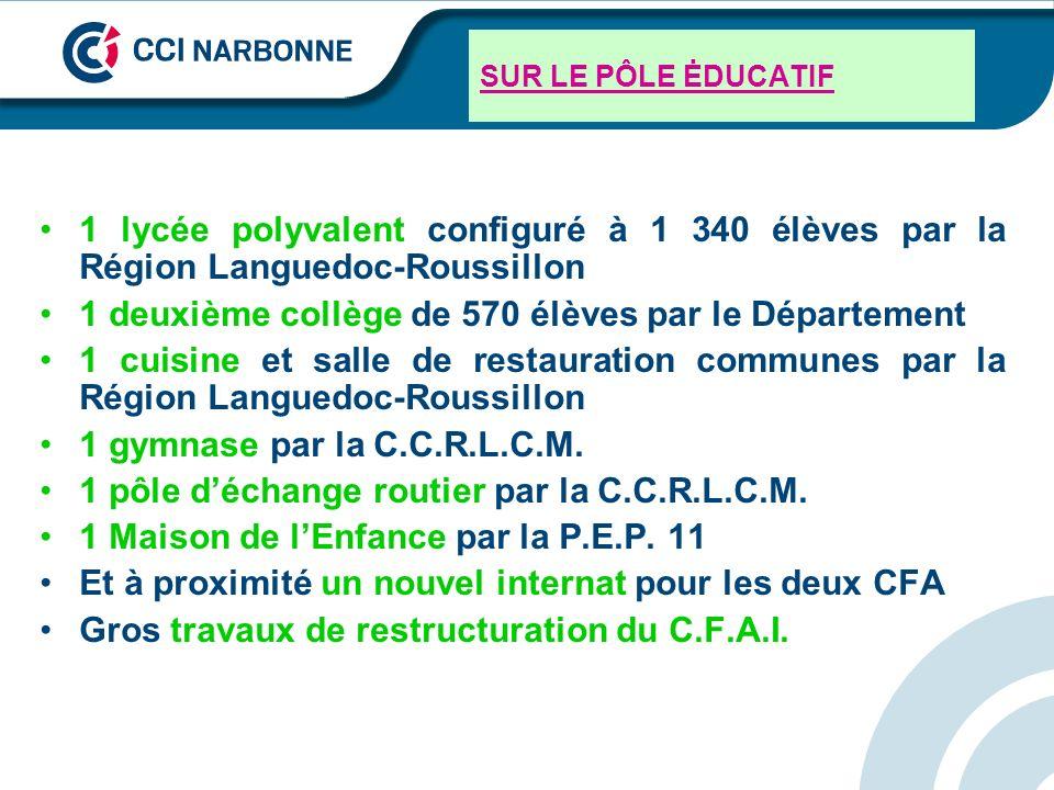 SUR LE PÔLE ĖDUCATIF 1 lycée polyvalent configuré à 1 340 élèves par la Région Languedoc-Roussillon 1 deuxième collège de 570 élèves par le Départemen