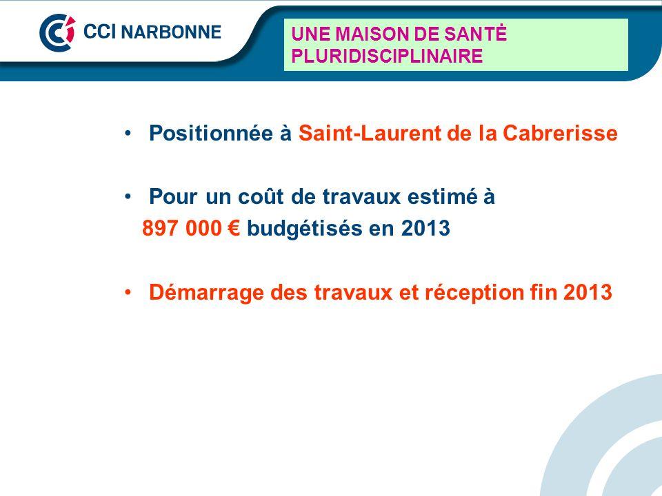 UNE MAISON DE SANTĖ PLURIDISCIPLINAIRE Positionnée à Saint-Laurent de la Cabrerisse Pour un coût de travaux estimé à 897 000 budgétisés en 2013 Démarr