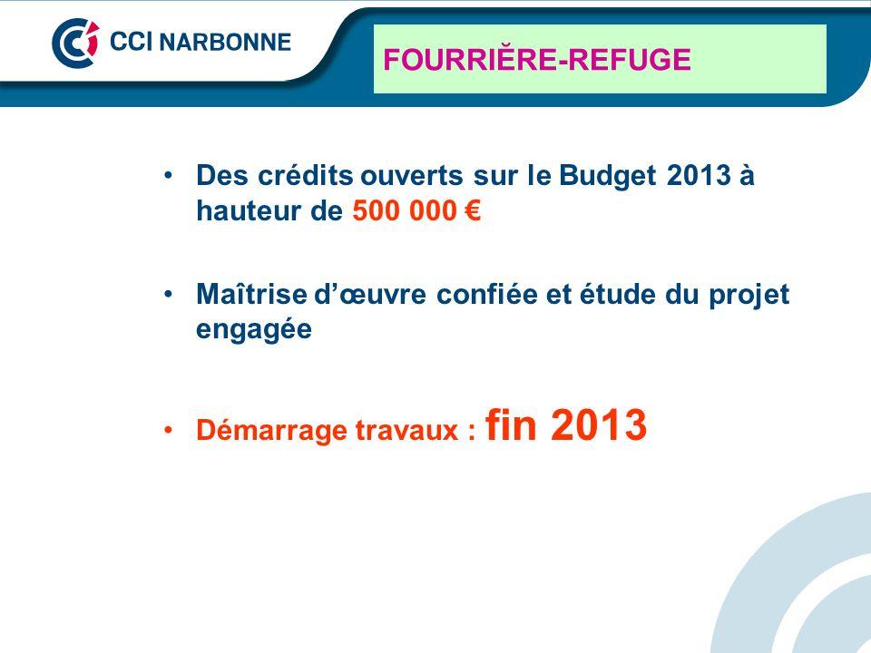 FOURRIĔRE-REFUGE Des crédits ouverts sur le Budget 2013 à hauteur de 500 000 Maîtrise dœuvre confiée et étude du projet engagée Démarrage travaux : fi