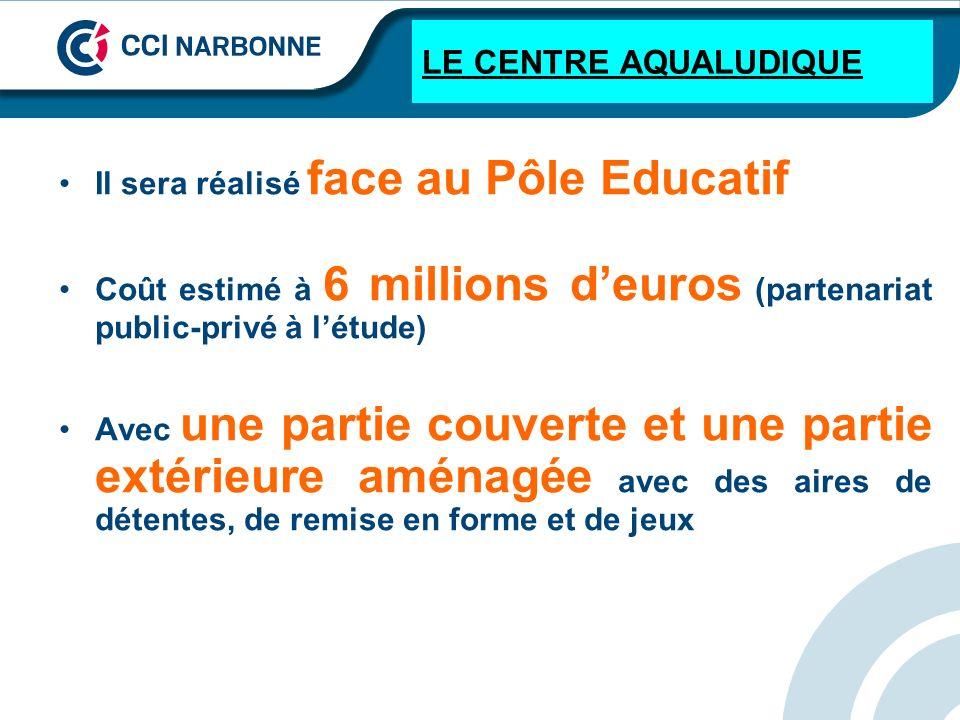 LE CENTRE AQUALUDIQUE Il sera réalisé face au Pôle Educatif Coût estimé à 6 millions deuros (partenariat public-privé à létude) Avec une partie couver