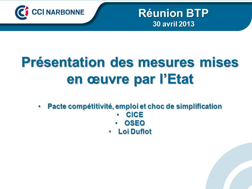 Présentation des mesures mises en œuvre par lEtat Pacte compétitivité, emploi et choc de simplificationPacte compétitivité, emploi et choc de simplifi
