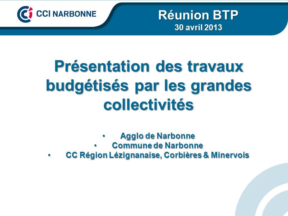 Présentation des travaux budgétisés par les grandes collectivités Agglo de NarbonneAgglo de Narbonne Commune de NarbonneCommune de Narbonne CC Région