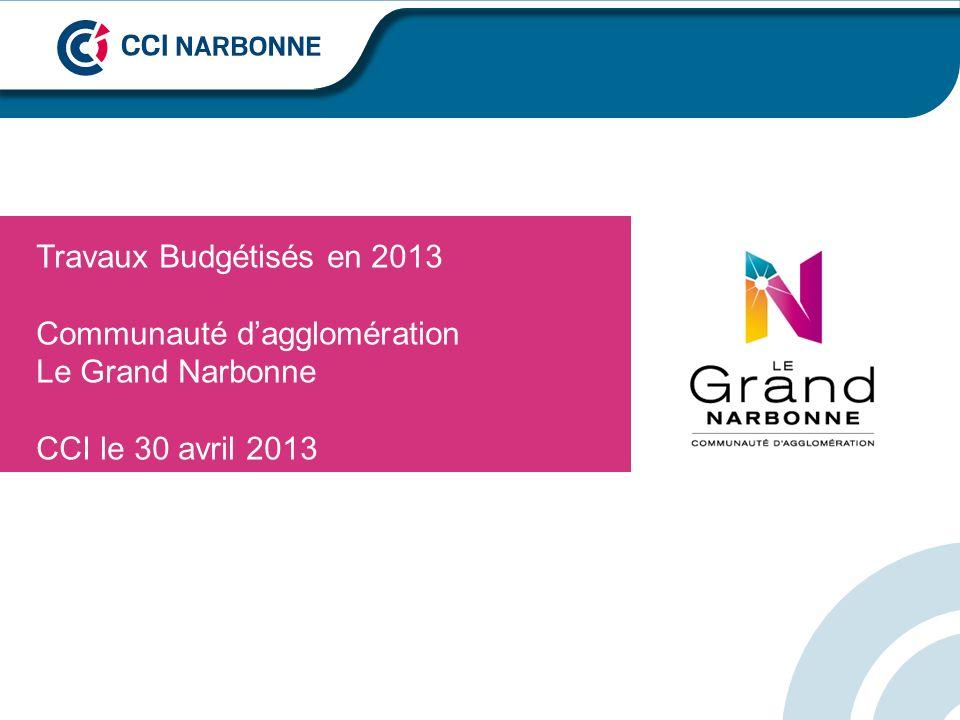 Travaux Budgétisés en 2013 Communauté dagglomération Le Grand Narbonne CCI le 30 avril 2013