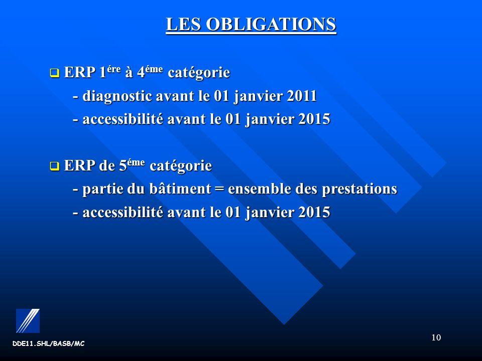 10 DDE11.SHL/BASB/MC LES OBLIGATIONS ERP 1 ére à 4 éme catégorie ERP 1 ére à 4 éme catégorie - diagnostic avant le 01 janvier 2011 - accessibilité avant le 01 janvier 2015 ERP de 5 éme catégorie ERP de 5 éme catégorie - partie du bâtiment= ensemble des prestations - accessibilité avant le 01 janvier 2015