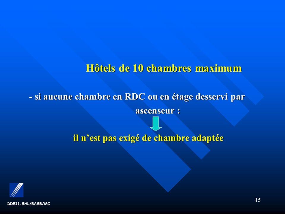 15 DDE11.SHL/BASB/MC Hôtels de 10 chambres maximum Hôtels de 10 chambres maximum - si aucune chambre en RDC ou en étage desservi par ascenseur : ascenseur : il nest pas exigé de chambre adaptée