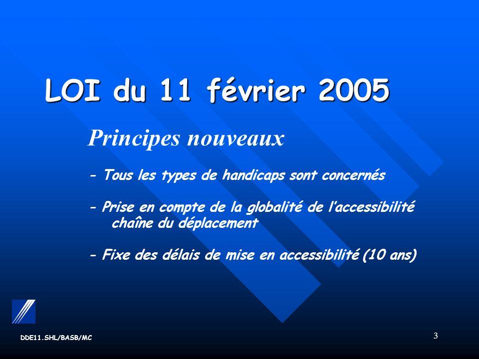 3 LOI du 11 février 2005 LOI du 11 février 2005 Principes nouveaux - Tous les types de handicaps sont concernés - Prise en compte de la globalité de laccessibilité chaîne du déplacement - Fixe des délais de mise en accessibilité (10 ans) DDE11.SHL/BASB/MC