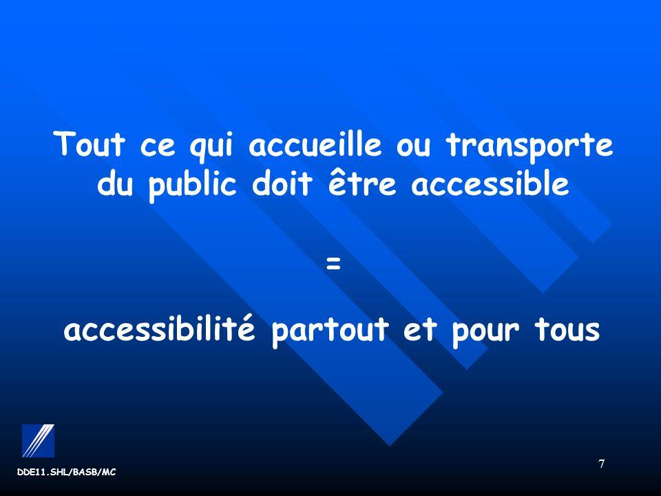 7 Tout ce qui accueille ou transporte du public doit être accessible = accessibilité partout et pour tous
