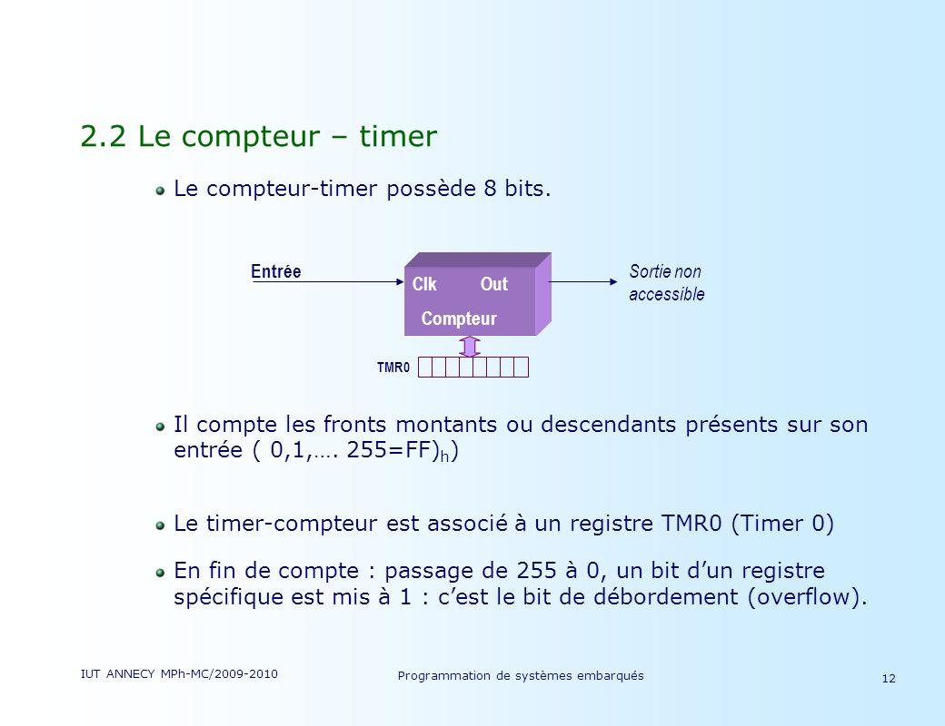 IUT ANNECY MPh-MC/2009-2010 Programmation de systèmes embarqués 12 2.2 Le compteur – timer Le compteur-timer possède 8 bits.