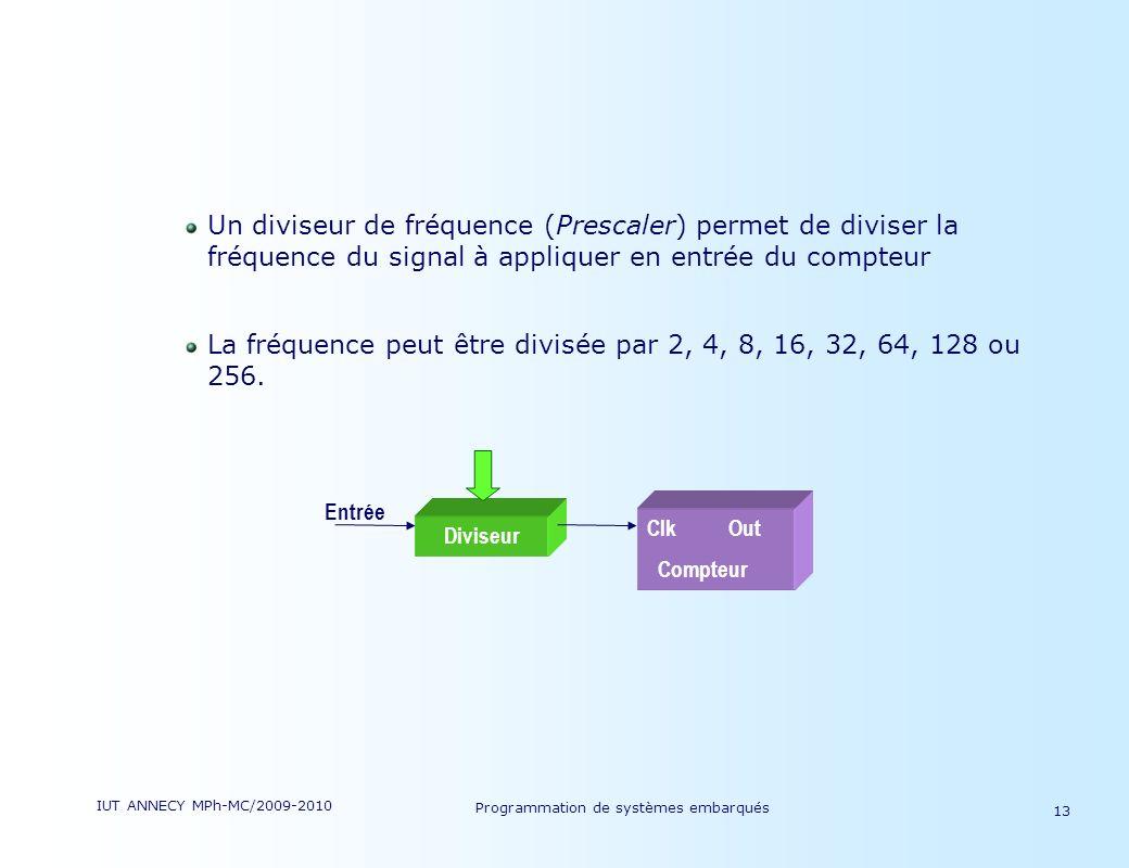 IUT ANNECY MPh-MC/2009-2010 Programmation de systèmes embarqués 13 Un diviseur de fréquence (Prescaler) permet de diviser la fréquence du signal à appliquer en entrée du compteur La fréquence peut être divisée par 2, 4, 8, 16, 32, 64, 128 ou 256.