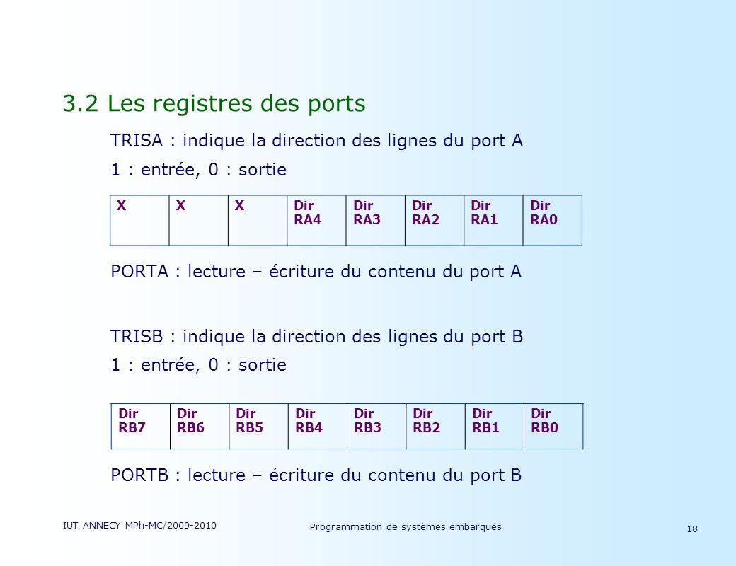 IUT ANNECY MPh-MC/2009-2010 Programmation de systèmes embarqués 18 3.2 Les registres des ports TRISA : indique la direction des lignes du port A 1 : entrée, 0 : sortie PORTA : lecture – écriture du contenu du port A TRISB : indique la direction des lignes du port B 1 : entrée, 0 : sortie PORTB : lecture – écriture du contenu du port B XXXDir RA4 Dir RA3 Dir RA2 Dir RA1 Dir RA0 Dir RB7 Dir RB6 Dir RB5 Dir RB4 Dir RB3 Dir RB2 Dir RB1 Dir RB0