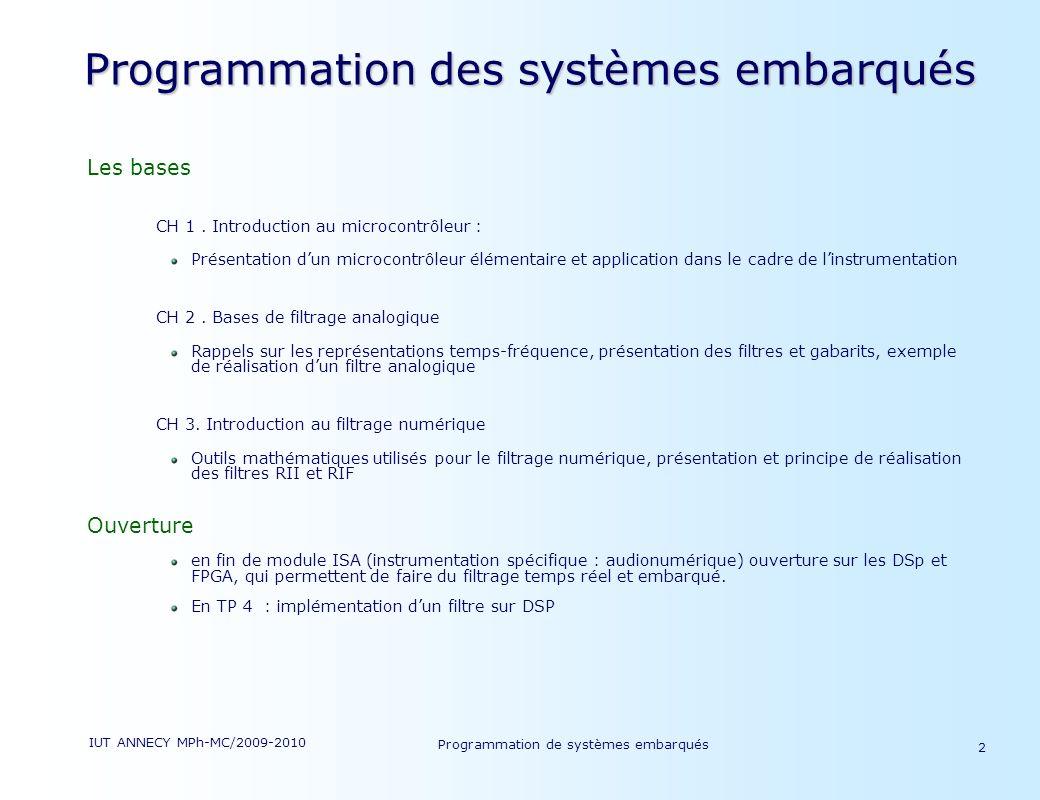 IUT ANNECY MPh-MC/2009-2010 Programmation de systèmes embarqués 2 Programmation des systèmes embarqués Les bases CH 1.