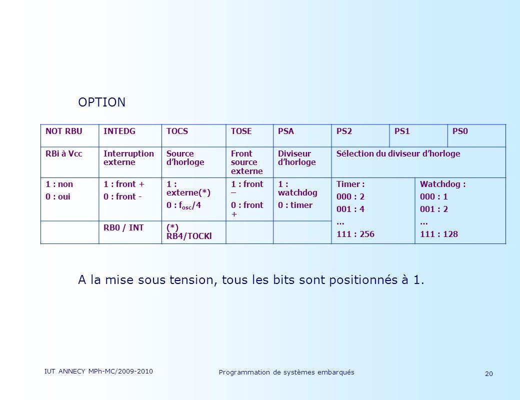 IUT ANNECY MPh-MC/2009-2010 Programmation de systèmes embarqués 20 OPTION A la mise sous tension, tous les bits sont positionnés à 1.