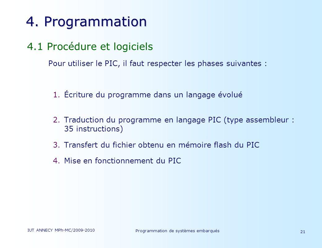 IUT ANNECY MPh-MC/2009-2010 Programmation de systèmes embarqués 21 4.