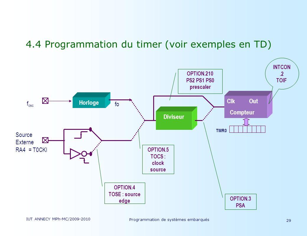 IUT ANNECY MPh-MC/2009-2010 Programmation de systèmes embarqués 29 4.4 Programmation du timer (voir exemples en TD) Clk Out Compteur Diviseur Source Externe RA4 = T0CKl TMR0 Horloge f osc fo OPTION.4 TOSE : source edge OPTION.5 TOCS : clock source OPTION.3 PSA OPTION.210 PS2 PS1 PS0 prescaler INTCON.2 TOIF