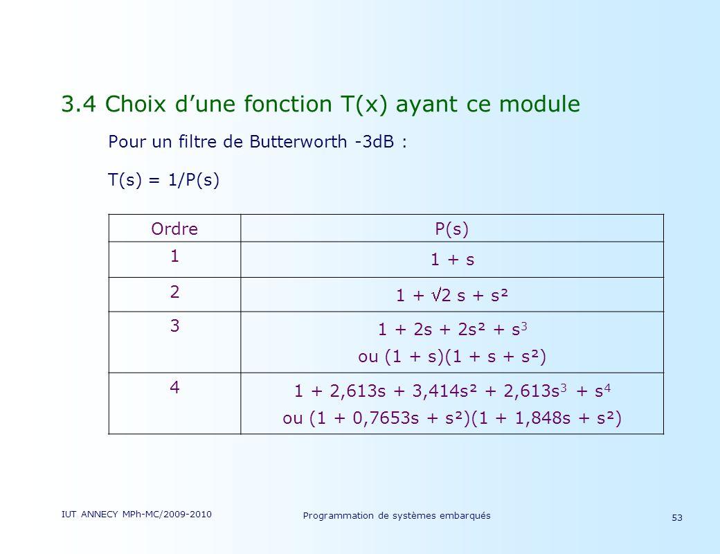 IUT ANNECY MPh-MC/2009-2010 Programmation de systèmes embarqués 53 3.4 Choix dune fonction T(x) ayant ce module Pour un filtre de Butterworth -3dB : T(s) = 1/P(s) OrdreP(s) 1 1 + s 2 1 + 2 s + s² 3 1 + 2s + 2s² + s 3 ou (1 + s)(1 + s + s²) 4 1 + 2,613s + 3,414s² + 2,613s 3 + s 4 ou (1 + 0,7653s + s²)(1 + 1,848s + s²)
