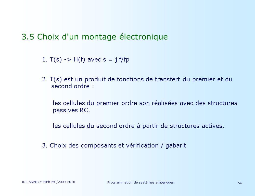 IUT ANNECY MPh-MC/2009-2010 Programmation de systèmes embarqués 54 3.5 Choix d un montage électronique 1.