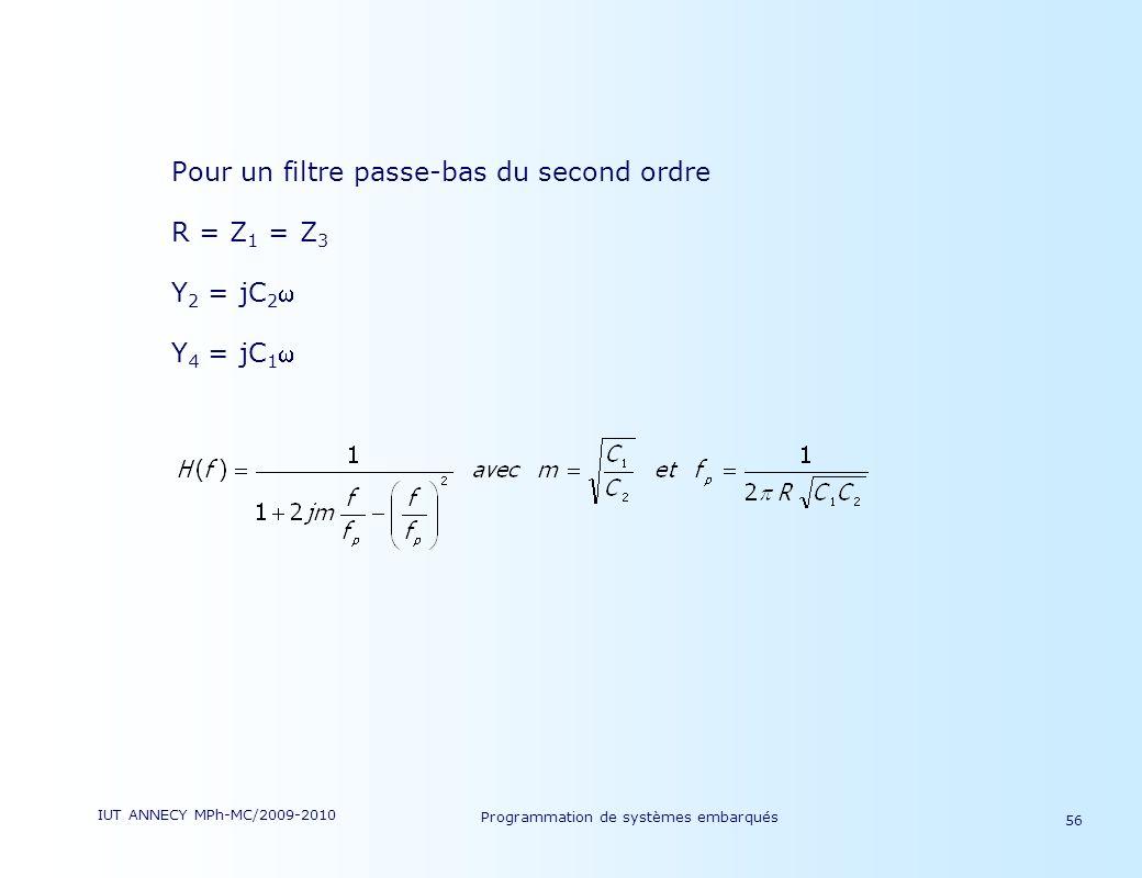 IUT ANNECY MPh-MC/2009-2010 Programmation de systèmes embarqués 56 Pour un filtre passe-bas du second ordre R = Z 1 = Z 3 Y 2 = jC 2 Y 4 = jC 1